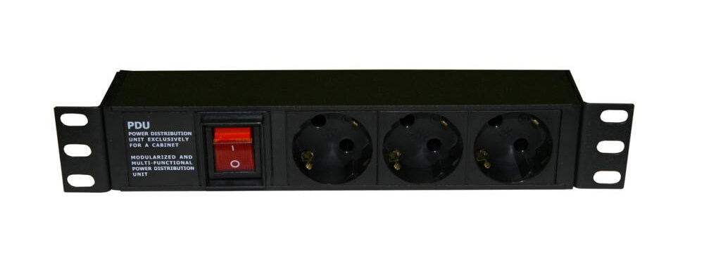 "3 way 10"" Germany type PDU with switch"