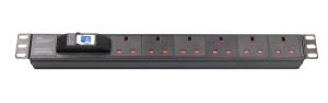 1U 6-outlet UK PDU with air circuit-breaker