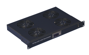 1U fan unit with 4 fans and thermostat